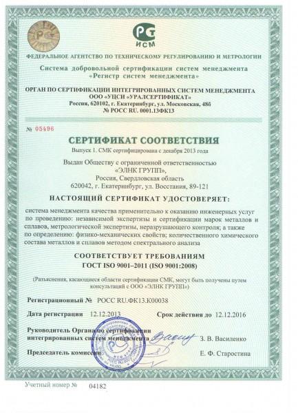 сертификат соответствия исо 9001 екатеринбург